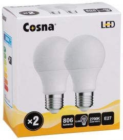 COSNA LED 9,4W E27 A60 2-PACK